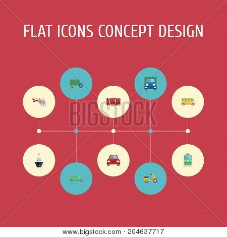 Flat Icons Automotive, Automobile, Truck And Other Vector Elements
