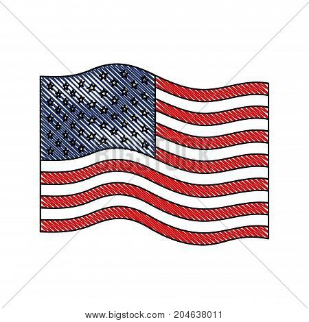 flag united states of america wave in colored crayon silhouette vector illustration