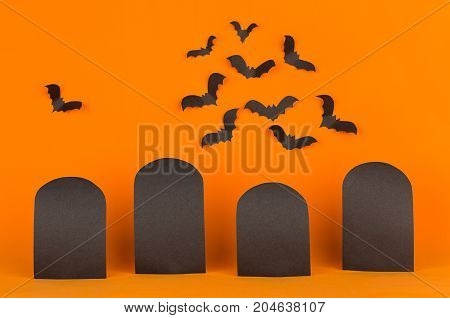 Fun halloween orange background with blank labels and bats flock mock up. Template for advertising design cover.