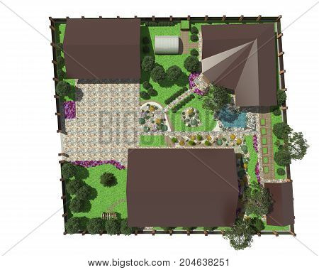 3D rendering of landscape design of the garden area