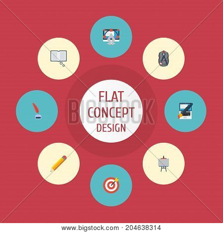 Flat Icons Compass, Pen, Writing And Other Vector Elements