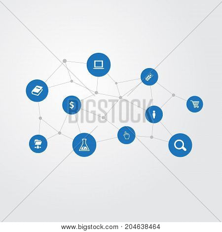 Elements Folder Network, Money, Flask And Other Synonyms Cart, Laptop And Zoom.  Vector Illustration Set Of Simple B2B Icons.