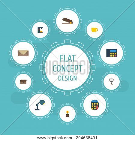 Flat Icons Desk Light, Tea, Board Stand Vector Elements