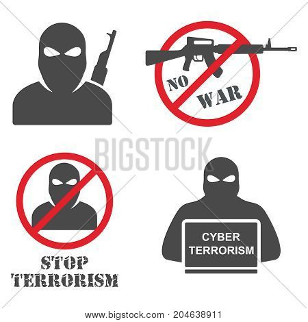 Terrorism Armed Terrorist Black Mask Hold Weapon Machine Gun Vector Illustration