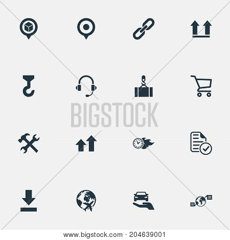 Elements Report, Renovation, Direction Arrows And Other Synonyms Time, Earphone And Crane.  Vector Illustration Set Of Simple Logistics Icons.