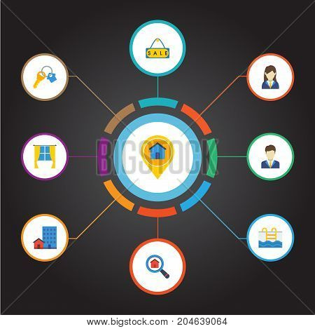 Flat Icons Pin, Swimming, Magnifier And Other Vector Elements