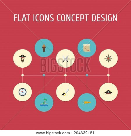 Flat Icons Pirate Hat, Sword, Treasure Map And Other Vector Elements