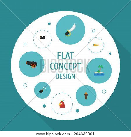 Flat Icons Telescope, Macaw, Banner And Other Vector Elements