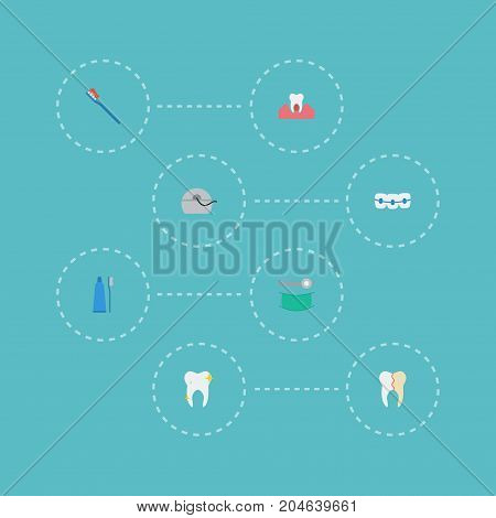 Flat Icons Halitosis, Dentition, Stomatology And Other Vector Elements