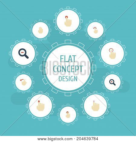 Flat Icons Zoom Out, Magnifier, Rearward And Other Vector Elements