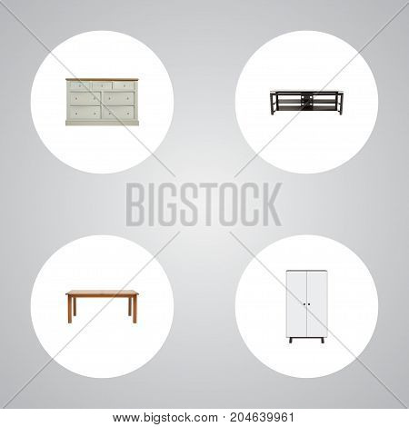 Realistic Wardrobe, Cupboard, Table And Other Vector Elements
