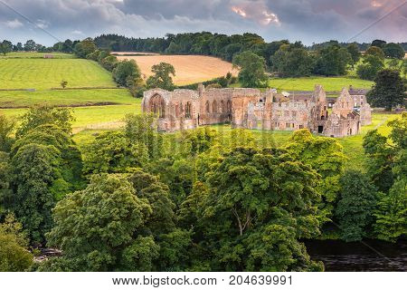 Egglestone Abbey on riverbank of River Tees, the remains of which are on the banks of river, near Barnard Castle in County Durham