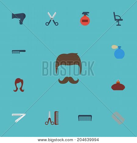 Flat Icons Deodorant, Perfume, Hairbrush And Other Vector Elements