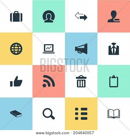 Elements Search, Tasks, Suitcase And Other Synonyms Sheet, Planet And Business.  Vector Illustration Set Of Simple Interaction Icons.