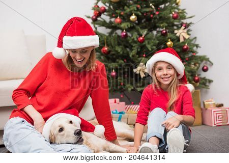 Mother, Daughter And Dog At Christmastime