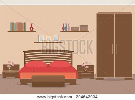 Bedroom design interior with furniture bed wardrobe bookshelf. Vector illustration in flat style