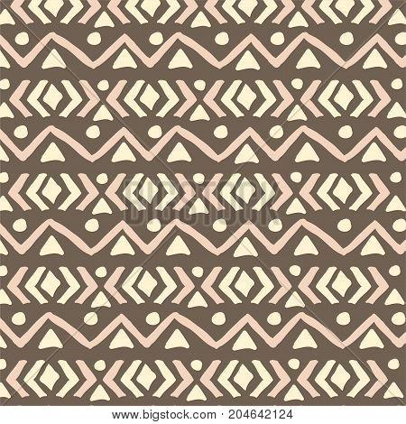 Ethnic pattern. Aztec geometric background. Hand drawn navajo fabric. Modern abstract wallpaper. Vector illustration.