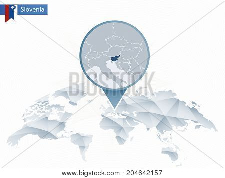 Abstract Rounded World Map With Pinned Detailed Slovenia Map.