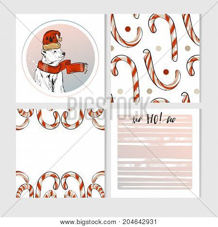 Hand made vector Merry Christmas greeting cards set with cute xmas polar bear characters in winter clothing and candy canes in pastel colors isolate on white background.Happy new Year 2018 concept
