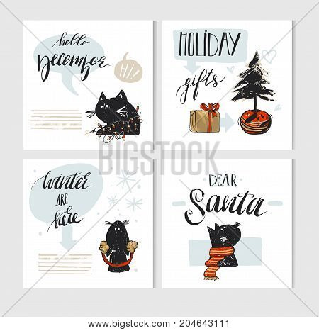 Hand made vector abstract Merry Christmas greeting card set with cute xmas black cats character in winter clothing and modern Xmas calligraphy phases isolated on white background.New Year 2018 concept