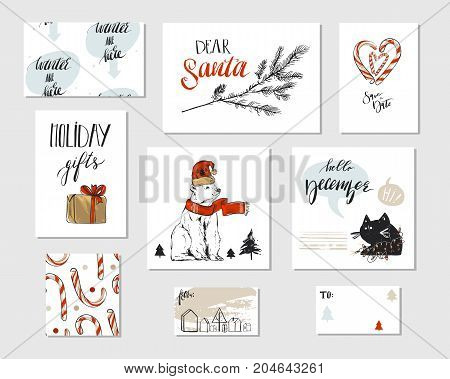 Collection of different hand made vector abstract Merry Christmas greeting card set with polar bear, candy canes, Christmas tree brunch, black funny cat, gift boxes and modern Xmas calligraphy phases.