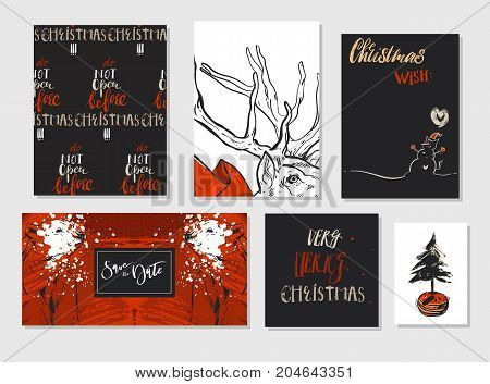 Collection of different hand made vector abstract Merry Christmas greeting card set with polar bear, Christmas tree, deer and modern Xmas calligraphy phases.Design for banners, posters, business, greeting