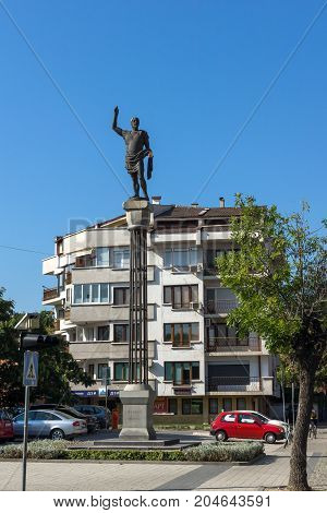 PLOVDIV, BULGARIA - SEPTEMBER 1, 2017:  Monument of Philip II of Macedon in City of Plovdiv, Bulgaria