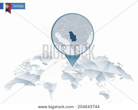 Abstract Rounded World Map With Pinned Detailed Serbia Map.