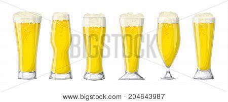 Beer glasses set. White beer or lager. poster