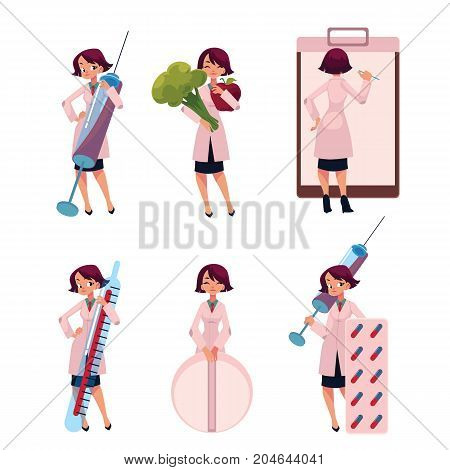 Young woman doctor, therapist with huge syringe, pill, thermometer, medical card, apple, cartoon vector illustration isolated on white background. Cartoon woman doctor with huge medical objects