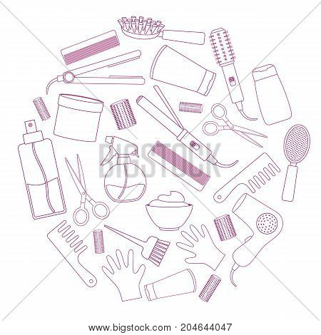 Set of line equipments for styling and hair care. Products and tools for home remedies of hair care. Vector