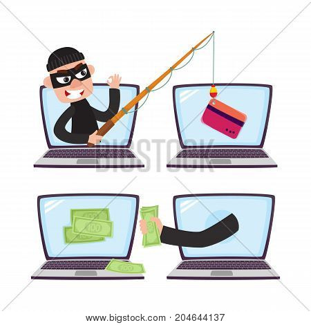 Hacker stealing money and credit card details with fishing rod, phishing attack concept, cartoon vector illustration isolated on white background. Cartoon computer hacker, phishing attack