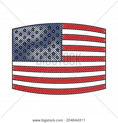 flag united states of america wave out design in colored crayon silhouette vector illustration