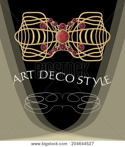 Luxurious art deco brooch with red gems ruby or garnet, fashion in victorian style, antique jewel, vector EPS 10