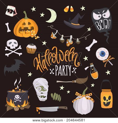 Halloween party. Vector set of halloween elements. Cheerful lettering and traditional halloween attributes: pumpkin with a treat witch hat cauldron skull and crossbones and etc.