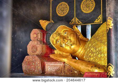 Reclining Buddha at Wat Chedi Luang in Chiang Mai Thailand