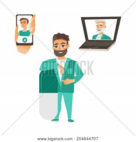 vector flat adult male doctor, physician in medical clothing leaning at big huge pill smiling, young and grey-haired doctor avatar in laptop and phone set. Isolated illustration on a white background.