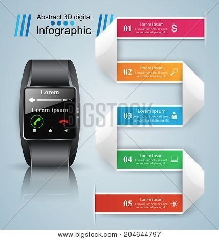 3D infographic design template and marketing icons. Business Infographics origami style Vector illustration. Smartwatch icon.
