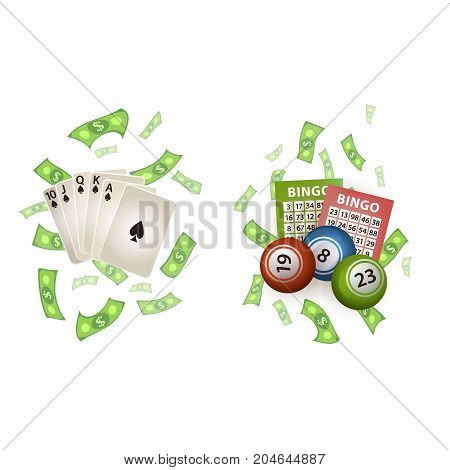 vector flat cartoon Royal Flush in spades poker cards, rain of dollar cash money around, bingo lottery balls and tickets set. Isolated illustration on a white background. Sign of profit, easy money.