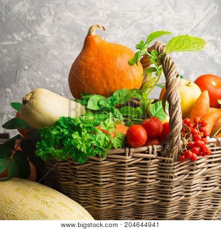 Autumn concept with vegetables and fruits in wicker basket square shot