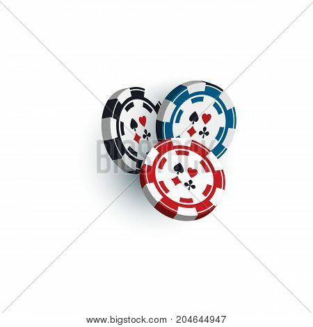 Set of red, black and blue gambling, casino, poker chips, tokens, 3D vector illustration isolated on white background. Group of three casino, gambling chips, tokens on white background