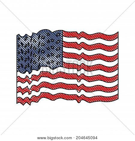flag united states of america with several wave in colored crayon silhouette vector illustration