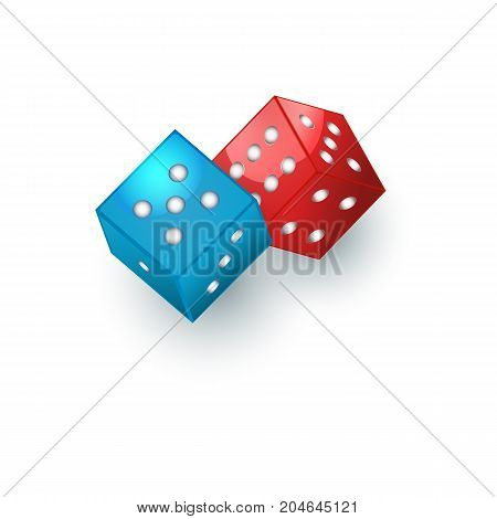 Couple of red and blue dices, gambling devices, vector illustration isolated on white background. Two dices, casino, gambling devices for throwing random numbers