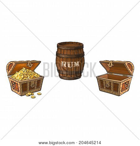 vector cartoon pirates symbols set isolated. opened empty and full of gold wooden treasure chest, wooden rum barrel. Pirates, risk adventure and treasure symbol