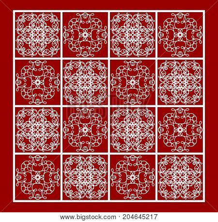 Vintage white lace patterns on red background, filigree repetitive ornamental tile in old style, geometric symmetric motif, vector EPS 10