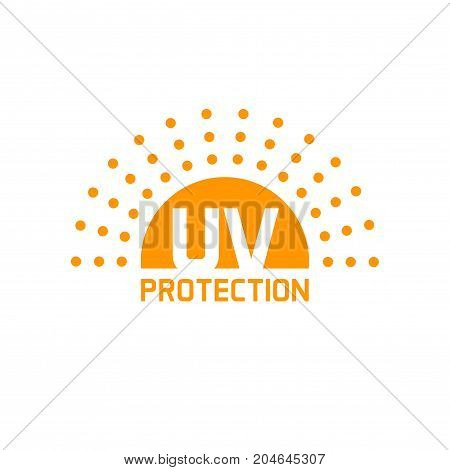 uv protection icon vector isolated on white, anti sun protect label