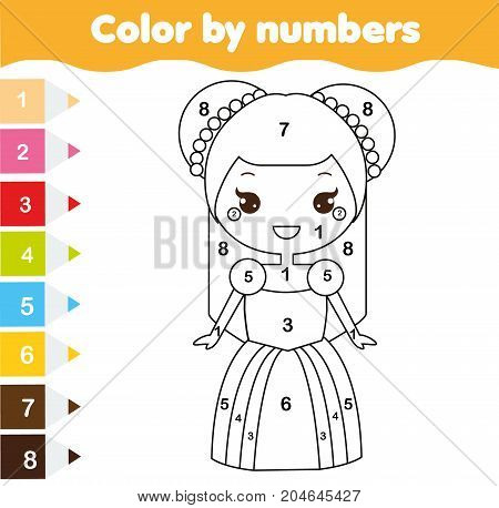 Color by numbers educational children game. Coloring page for kids. Cute princess. Printable drawing activity