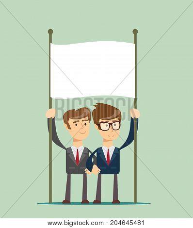 Full length portrait of business team holding blank placard against background. Stock flat vector illustration.