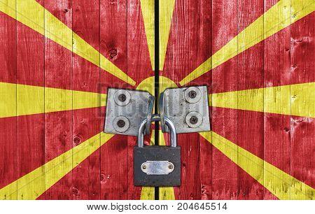 Macedonia flag on door with padlock close