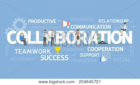 Collaboration concept illustration. Idea of success, teamwork and cooperation.
